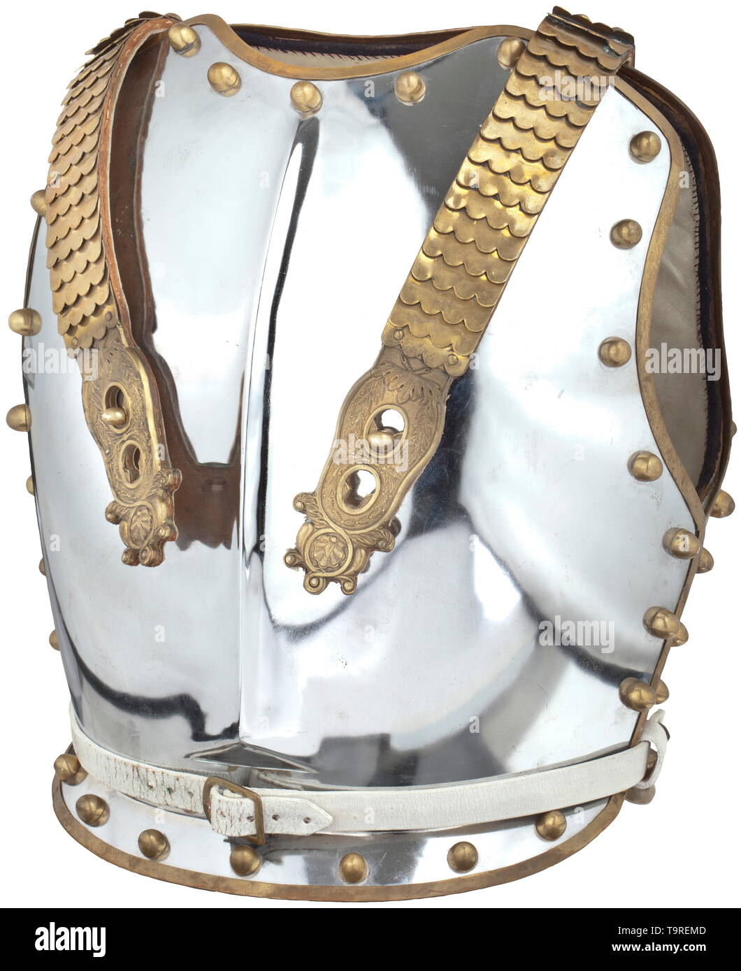 A British cuirass for enlisted men of the Household Cavalry, 20th century Breastplate and backplate made of nickel-plated iron with brass trim and continuous, sturdy semi-circular rivets. On the backplate, riveted scaled straps of brass with closures in relief design. Lined with white leather. No maker's mark or indication of size, signs of wear. Height 43 cm. historic, historical, Additional-Rights-Clearance-Info-Not-Available Stock Photo