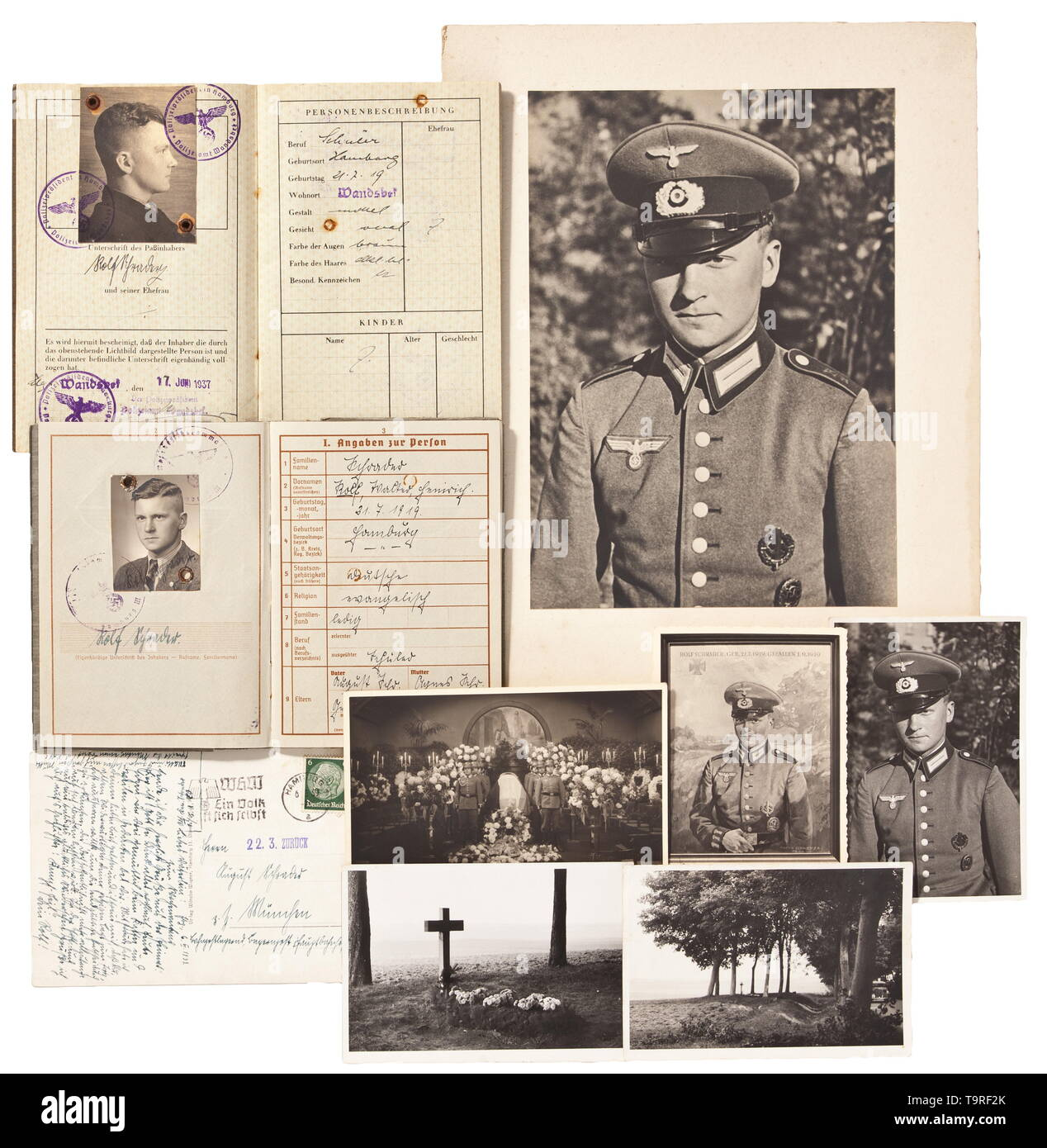 Killed in action 1 Sept. 1939 - The first victim of World War II - an estate of Kanonier Schrader In 1939, propaganda claimed the gunner was the first German soldier to be killed in World War II. Wehrpass (military service book) with photograph and entries, specifically 'Entlassen 1.9.1939 - Gefallen vor Konitz' (tr. 'Discharged 1 Sept. 1939 - KIA at Konitz'). Inserted is Schrader's Reich Labour Service certificate, also his passport. Furthermore, a large portrait in oil (61 x 80 cm), Schrader's dates of birth and death marked at the top, rolled up (some spalling), signed o, Editorial-Use-Only - Stock Image
