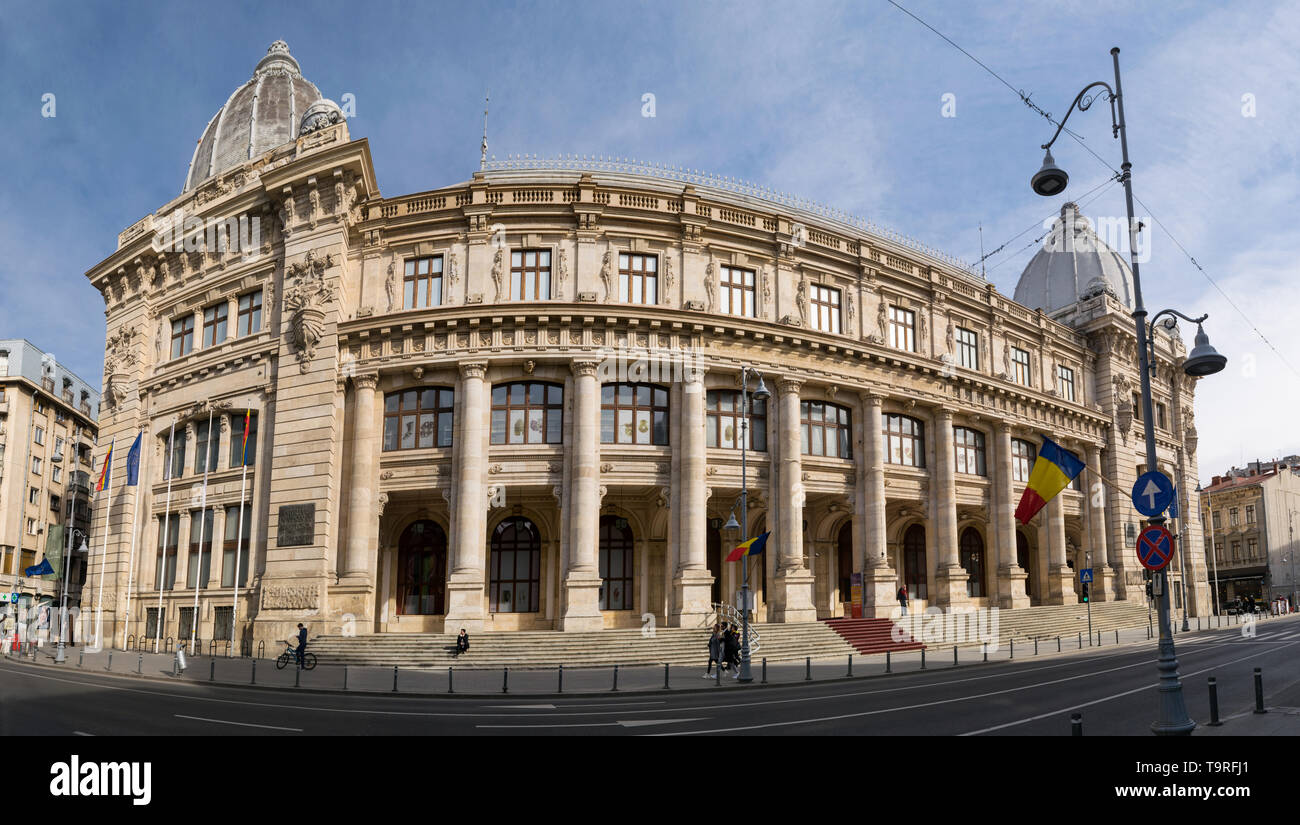 Bucharest, Romania - March 16, 2019: Romania National History Museum also known as the Postal Palace was build in 1900. - Stock Image