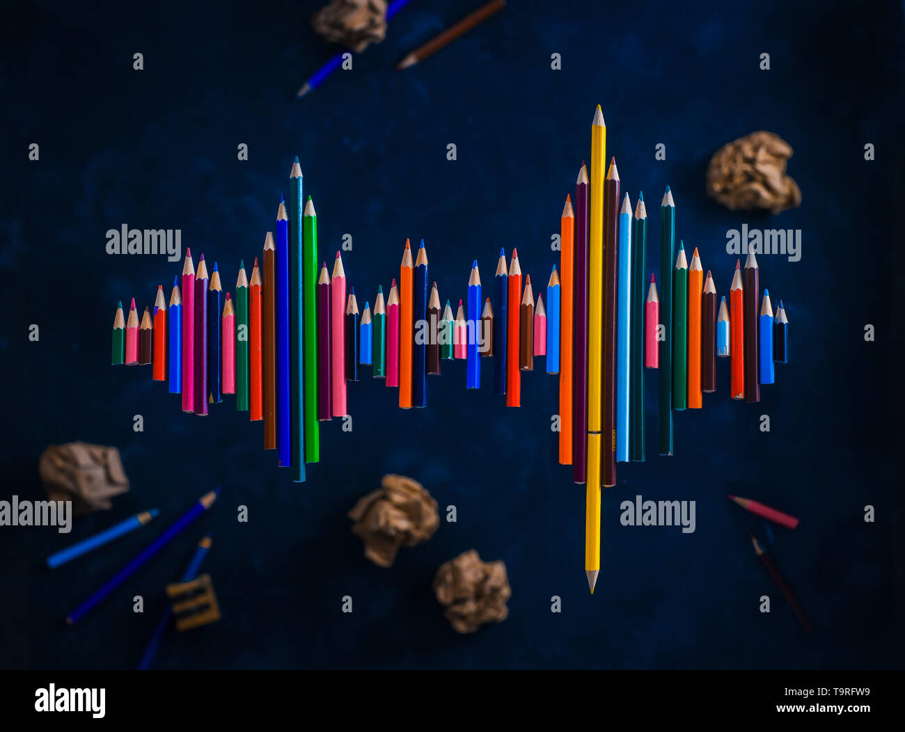 Soundwave shape made with pencils. Writer voice conceptual flat lay with copy space. - Stock Image
