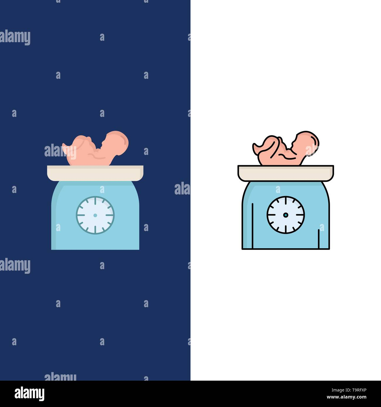 weight, baby, New born, scales, kid Flat Color Icon Vector - Stock Image