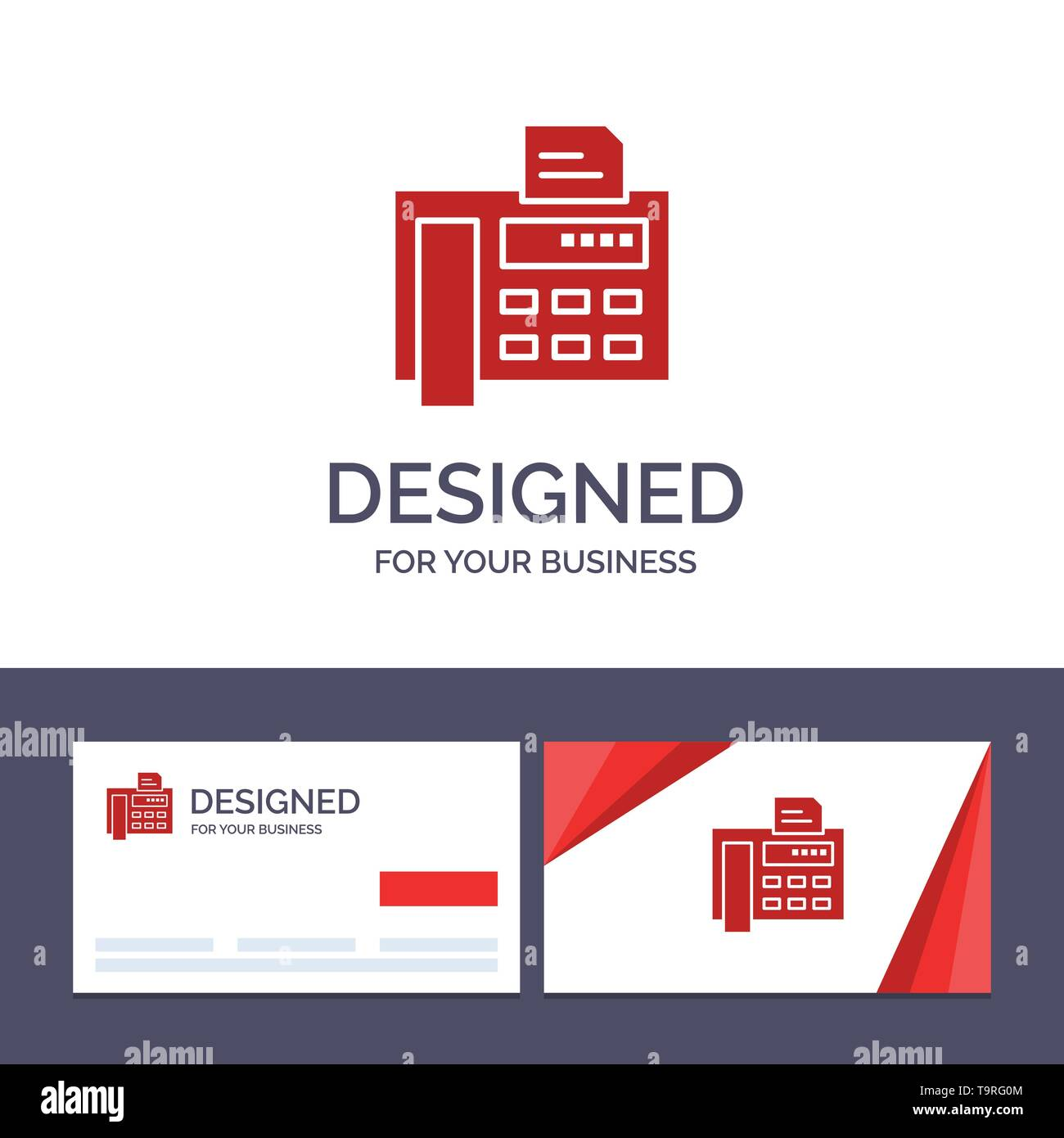 Creative Business Card and Logo template Fax, Phone, Typewriter, Fax Machine Vector Illustration - Stock Image