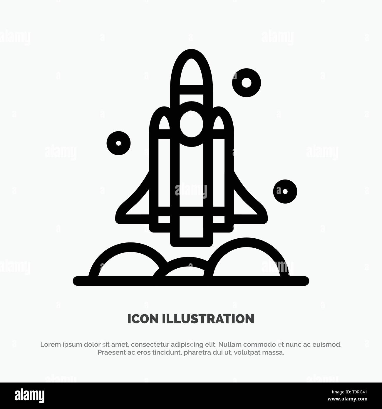 Launcher, Rocket, Spaceship, Transport, Usa Line Icon Vector - Stock Image