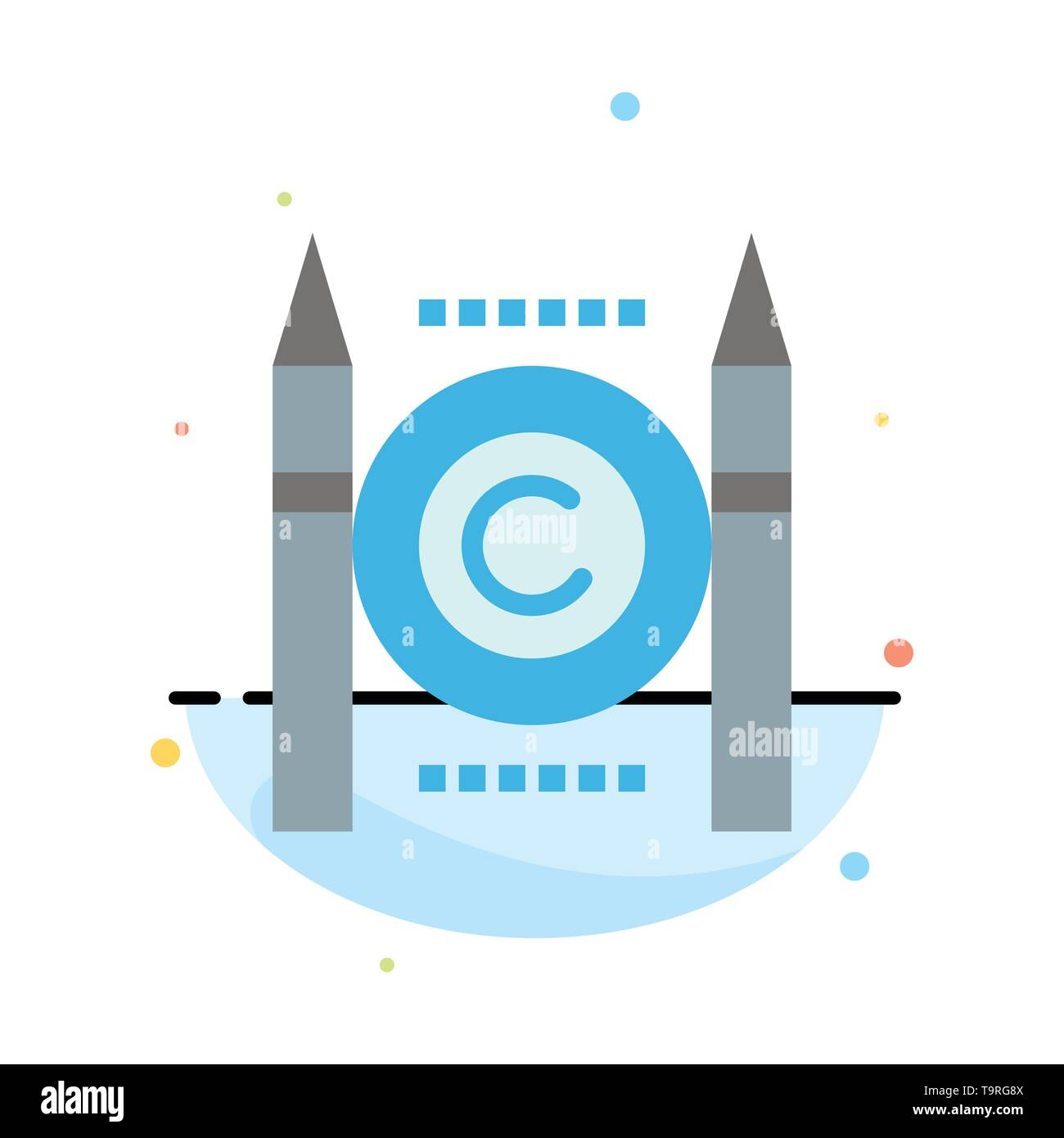 Business, Conflict, Copyright, Digital Abstract Flat Color Icon Template - Stock Image