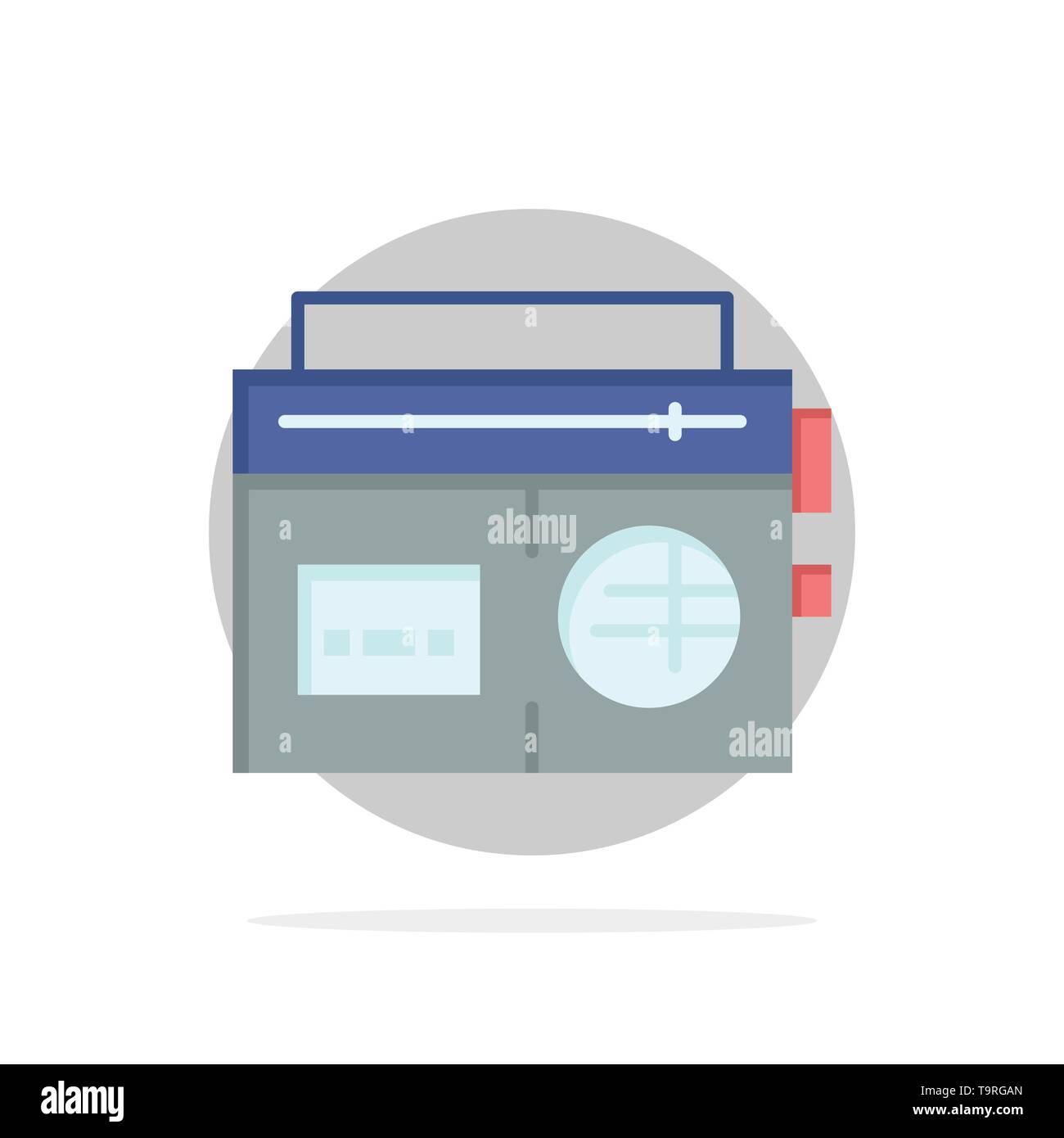 Tape, Radio, Music, Media Abstract Circle Background Flat color Icon - Stock Image