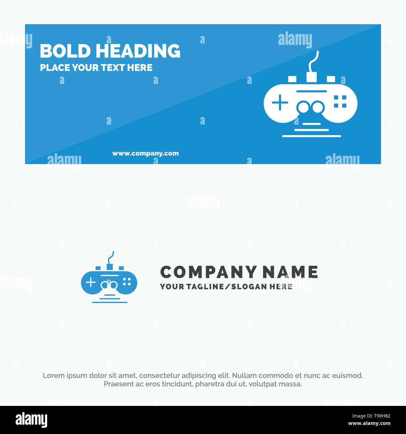 Controller, Game, Game Controller, Gamepad SOlid Icon Website Banner and Business Logo Template - Stock Image