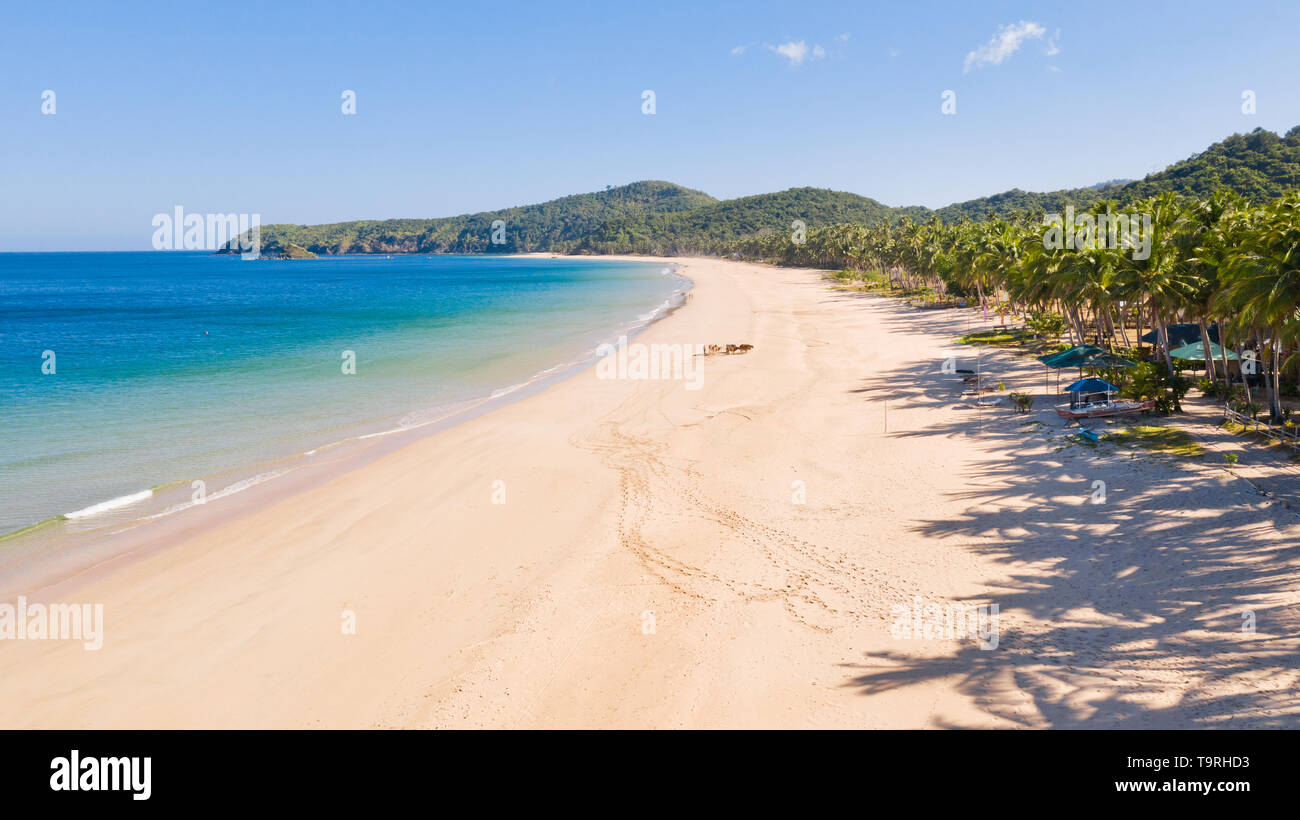 Wide tropical beach with white sand and small islands, top view. Nacpan Beach El Nido, Palawan. Seascape in clear weather, view from above. - Stock Image