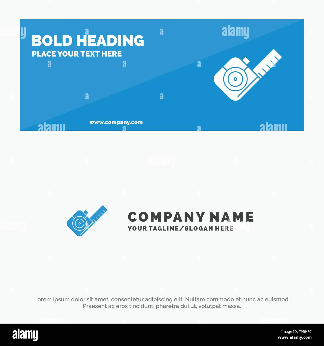 Measure, Measuring, Tape, Tool SOlid Icon Website Banner and Business Logo Template Stock Vector