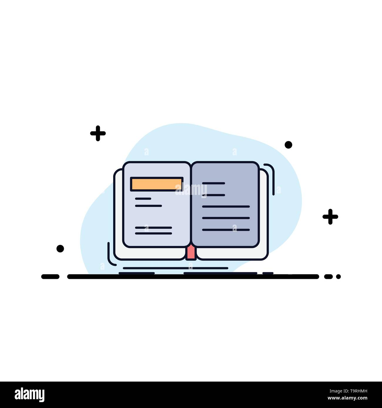 Author, book, open, story, storytelling Flat Color Icon Vector - Stock Image