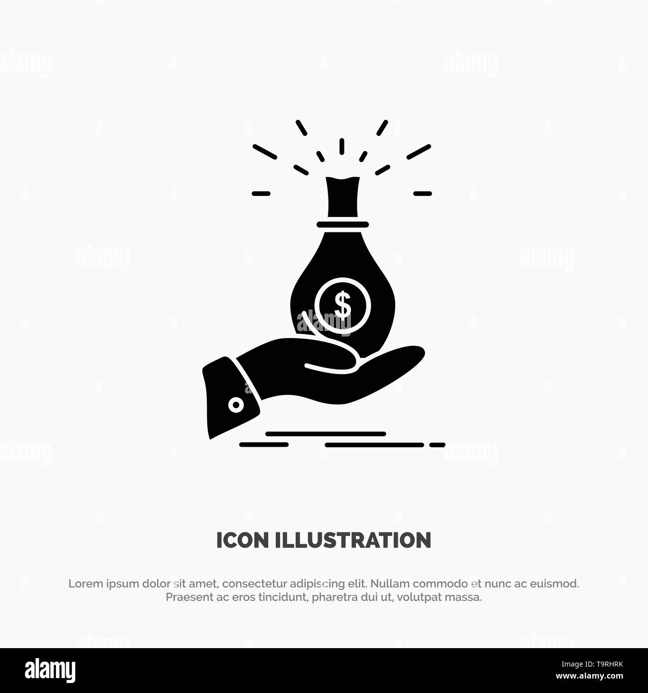 Dollar, Bag, Hand, Business, Capital, Debt, Investment, Savings solid Glyph Icon vector - Stock Image