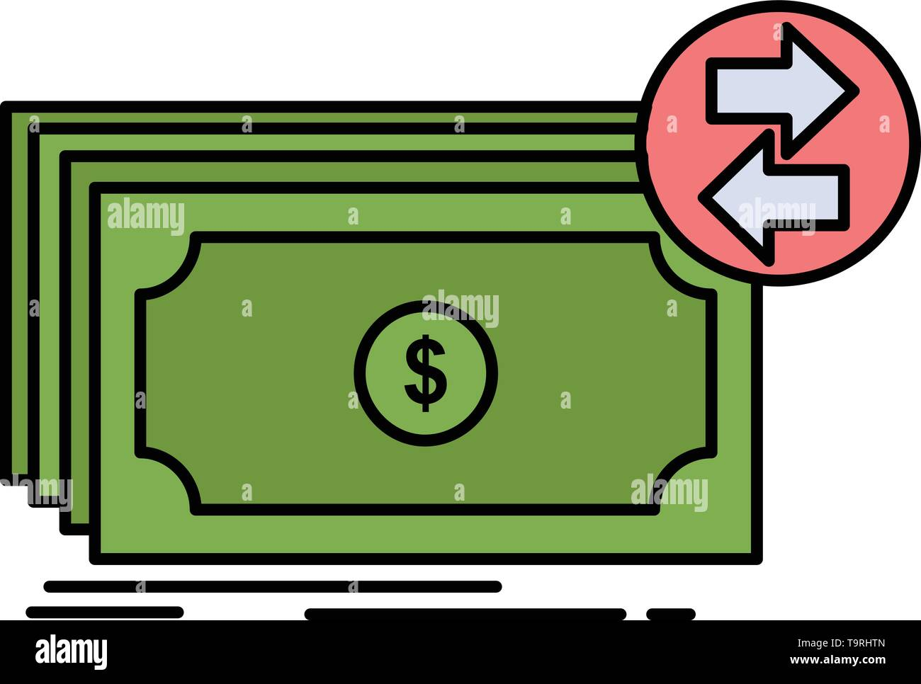 Banknotes, cash, dollars, flow, money Flat Color Icon Vector - Stock Image