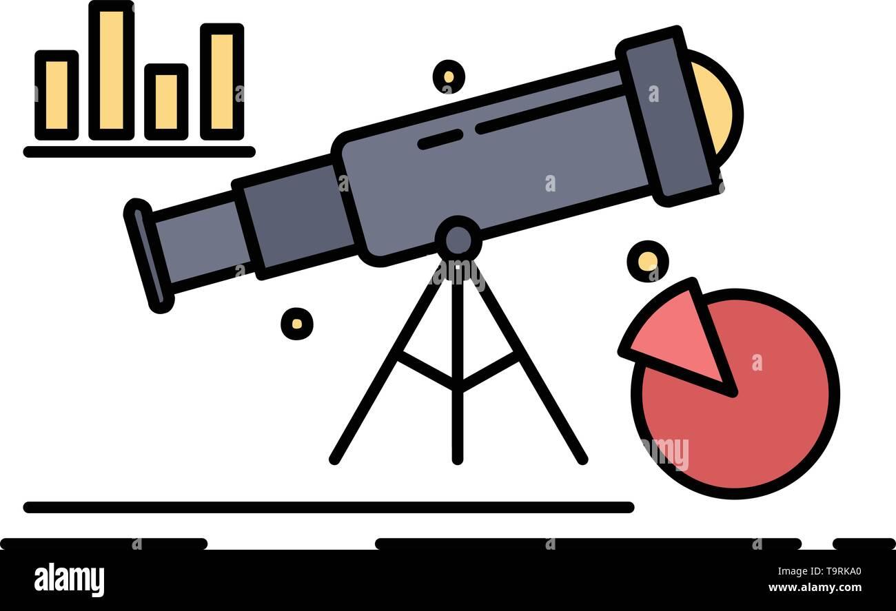 Analytics, finance, forecast, market, prediction Flat Color Icon Vector - Stock Image