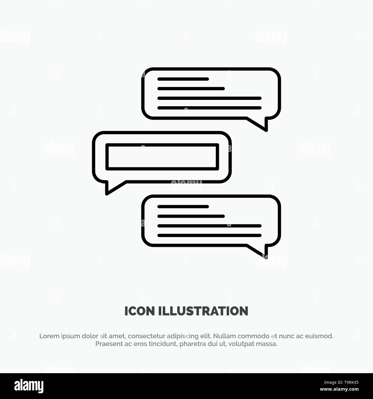 Chat, Bubbles, Comments, Conversations, Talks Line Icon Vector - Stock Image