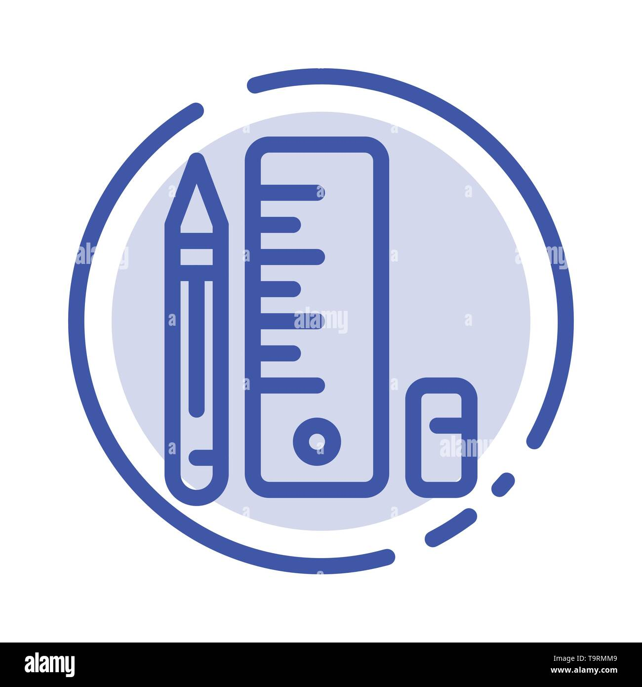 Education, Pen, Pencil, Scale Blue Dotted Line Line Icon - Stock Image