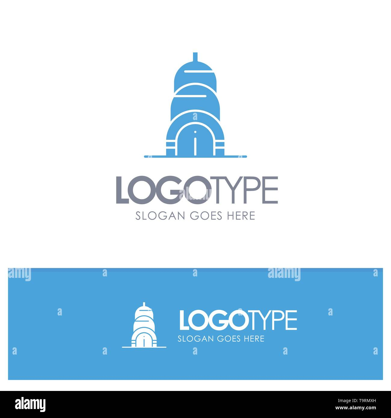 Chrysler, Building, Usa Blue Solid Logo with place for tagline - Stock Vector