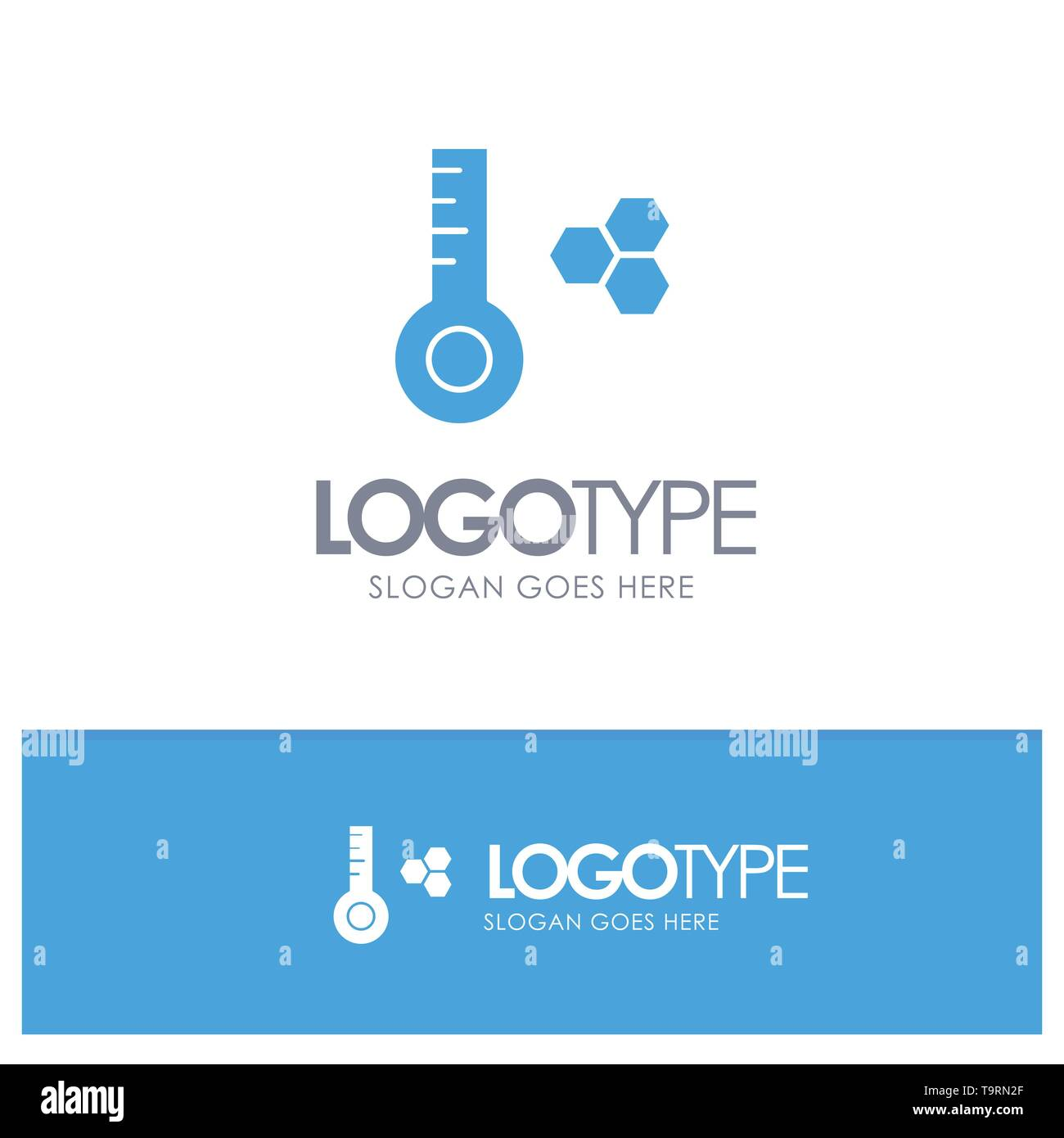 Temperature, Temperature Meter, Thermometer Blue Solid Logo with place for tagline - Stock Image
