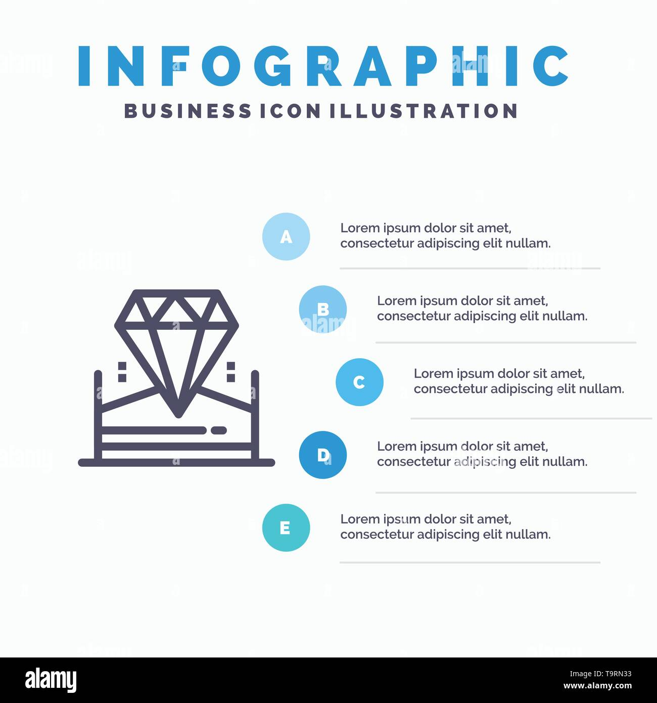 Brilliant, Diamond, Jewel, Hotel Blue Infographics Template 5 Steps. Vector Line Icon template - Stock Image