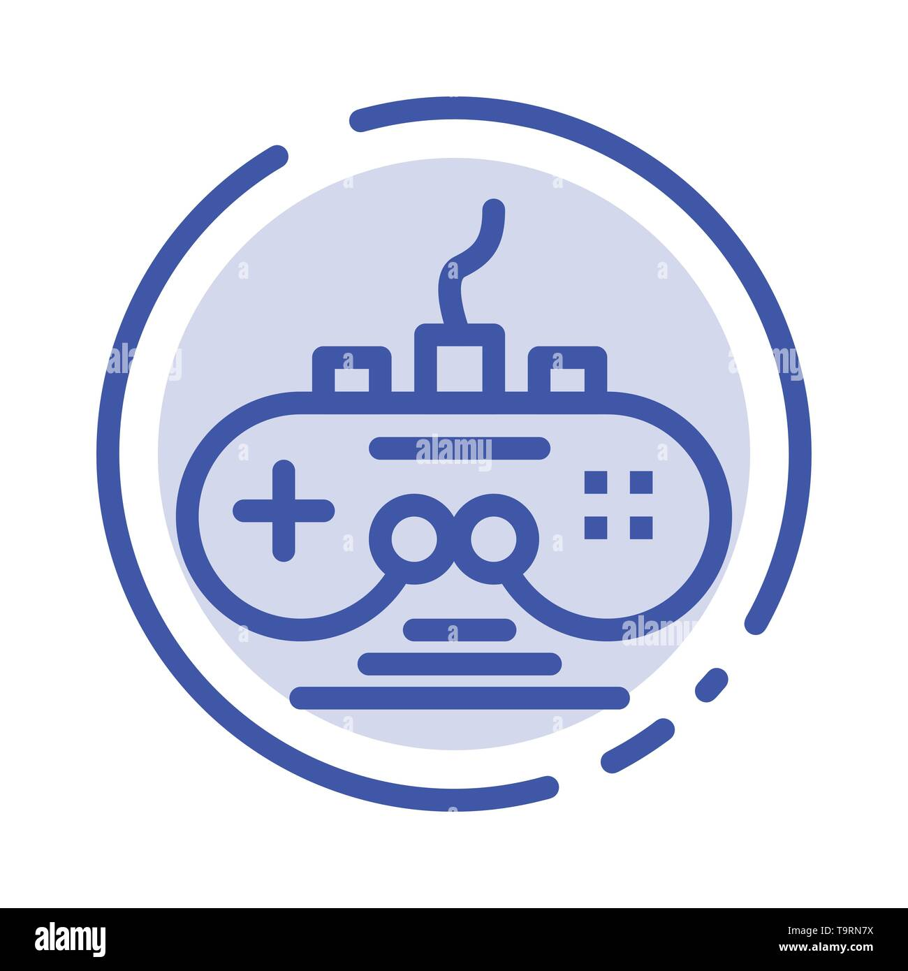 Controller, Game, Game Controller, Gamepad Blue Dotted Line Line Icon - Stock Image