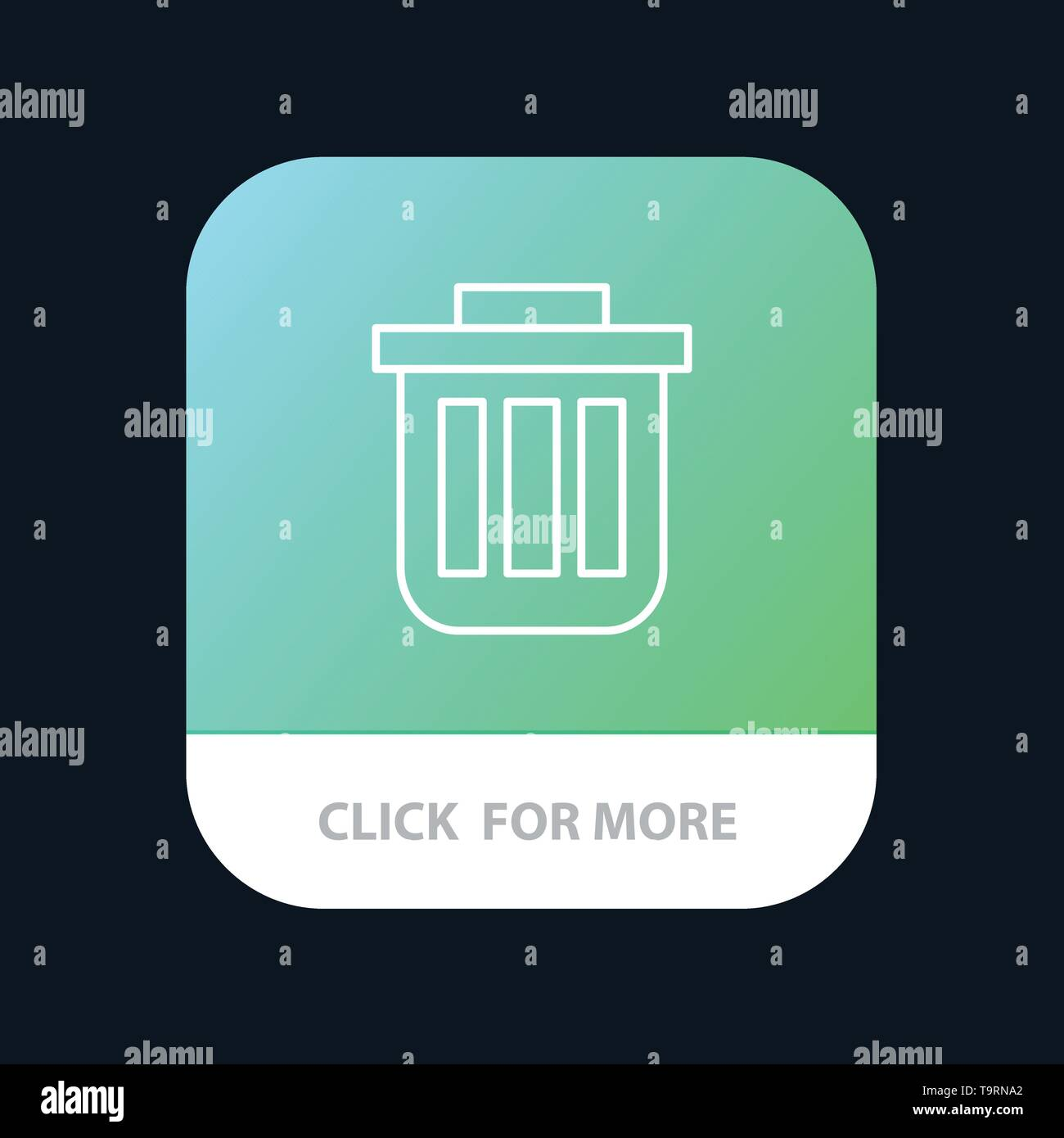 Trash, Basket, Bin, Can, Container, Dustbin, Office Mobile App Button. Android and IOS Line Version - Stock Image