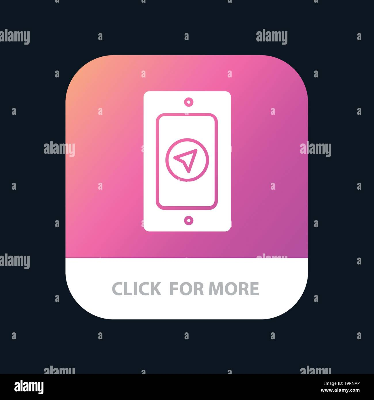 Mobile, Pin, Rainy Mobile App Button. Android and IOS Glyph Version - Stock Image