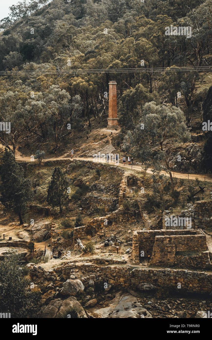 Gold mill ruins at Adelong Falls, near Tumut New South Wales - Stock Image