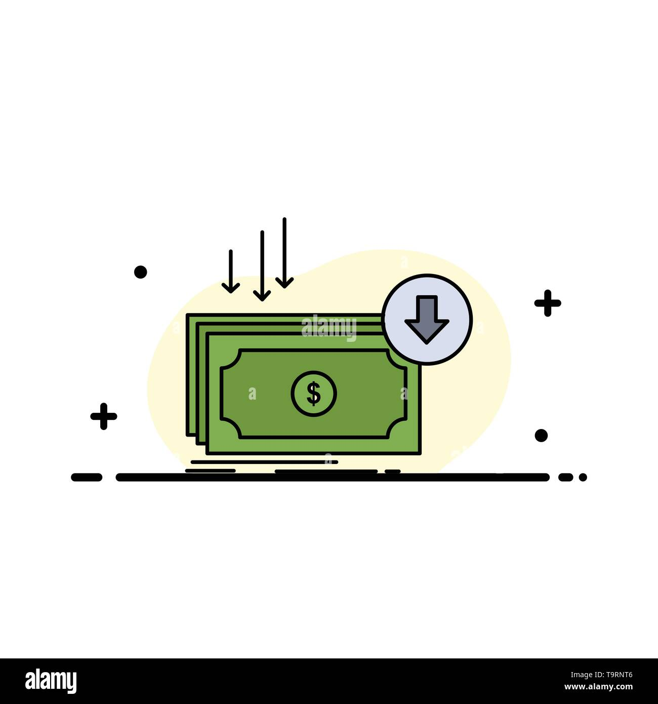 Business, cost, cut, expense, finance, money Flat Color Icon Vector - Stock Image