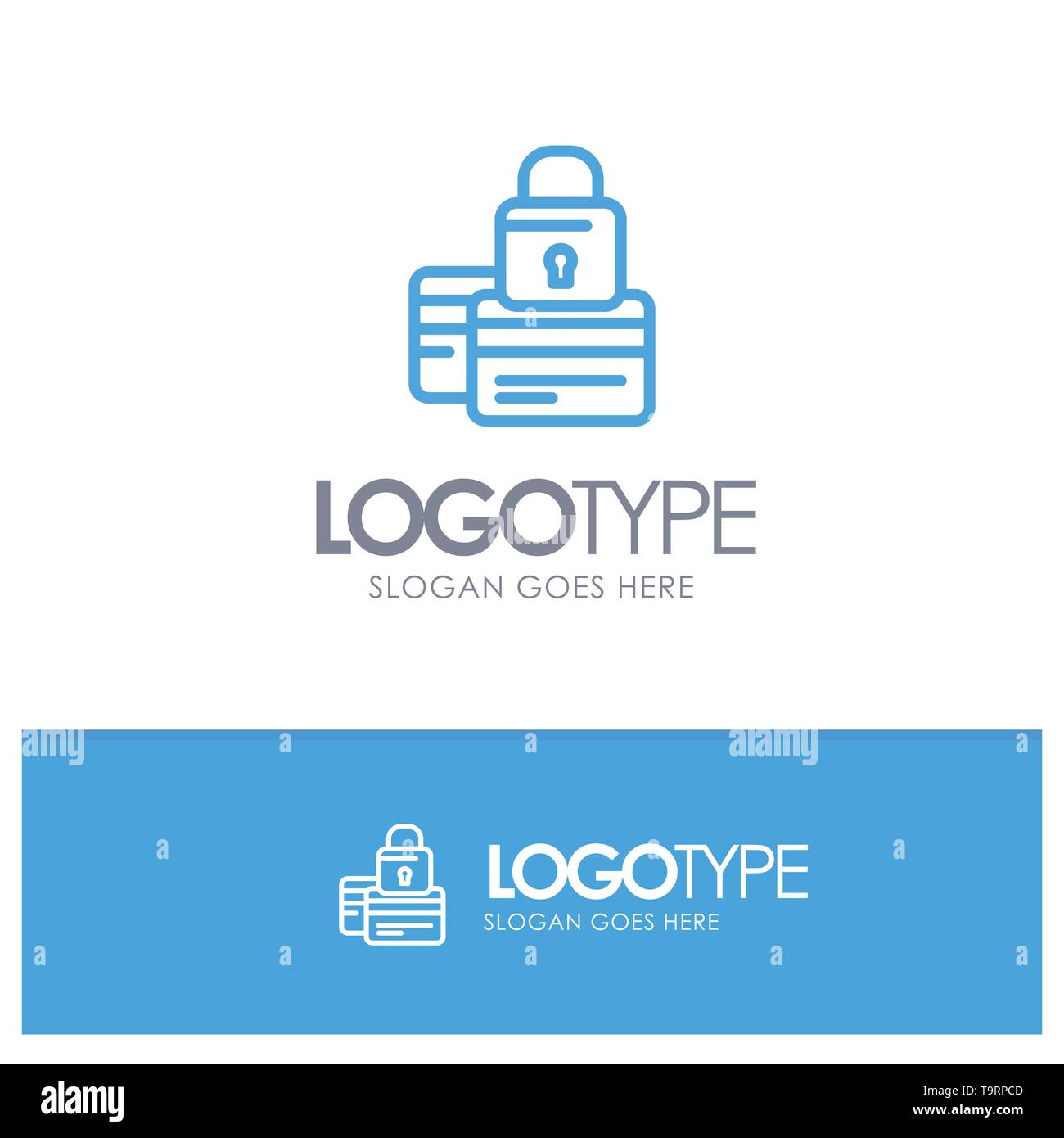 Banking, Card, Credit, Payment, Secure, Security Blue Outline Logo Place for Tagline - Stock Image