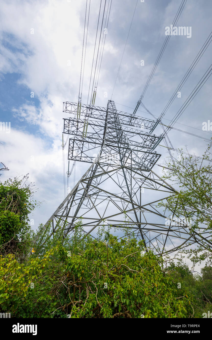 View looking upwards of a large electricity pylon and power lines in Nursling, Test Valley, Southampton, Hampshire, southern England, UK - Stock Image