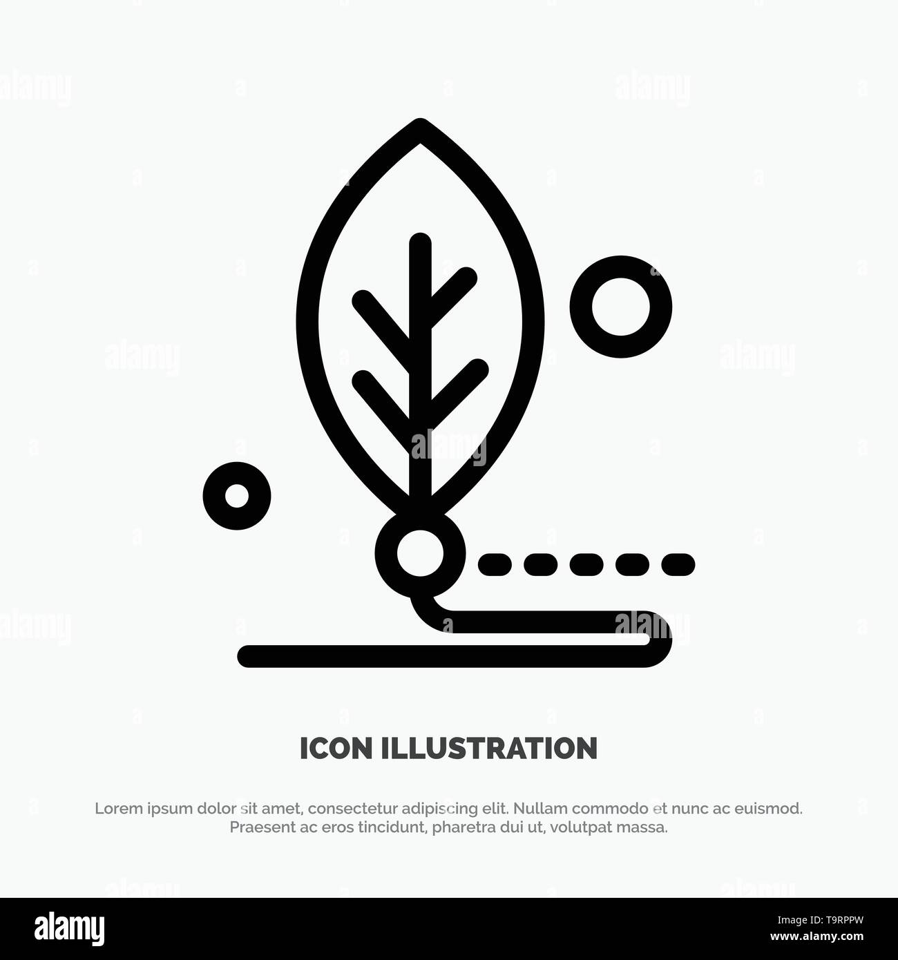 Artificial, Biology, Digital, Leaf, Life Line Icon Vector - Stock Image
