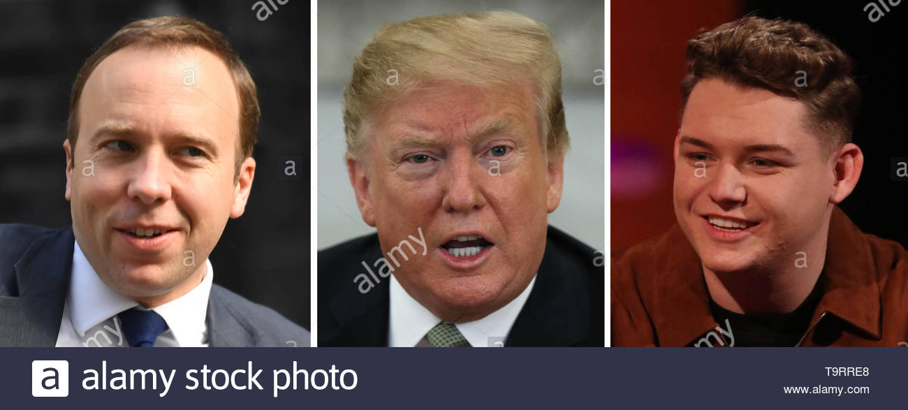 Undated file photos of (left to right) Matt Hancock, US President Donald Trump and Michael Rice. - Stock Image