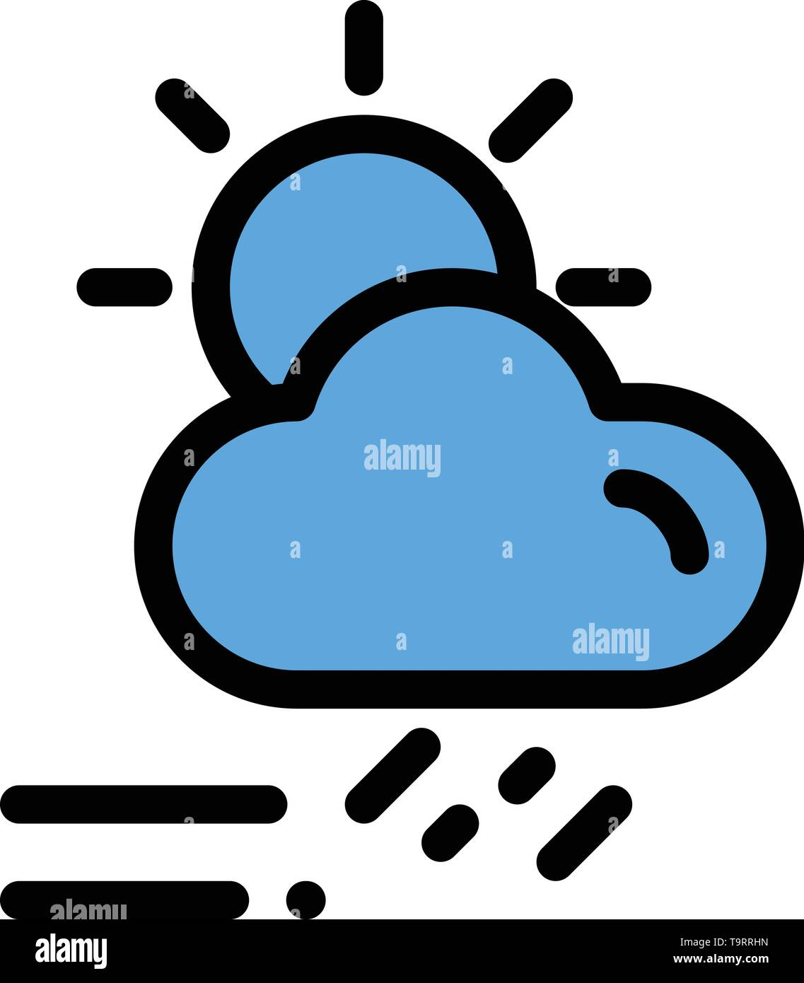 Cloud, Day, Rainy, Season, Weather  Flat Color Icon. Vector icon banner Template - Stock Image
