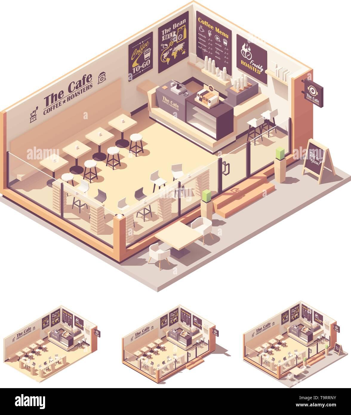 Vector Isometric Coffee Shop Or Coffeehouse Stock Vector Image Art Alamy