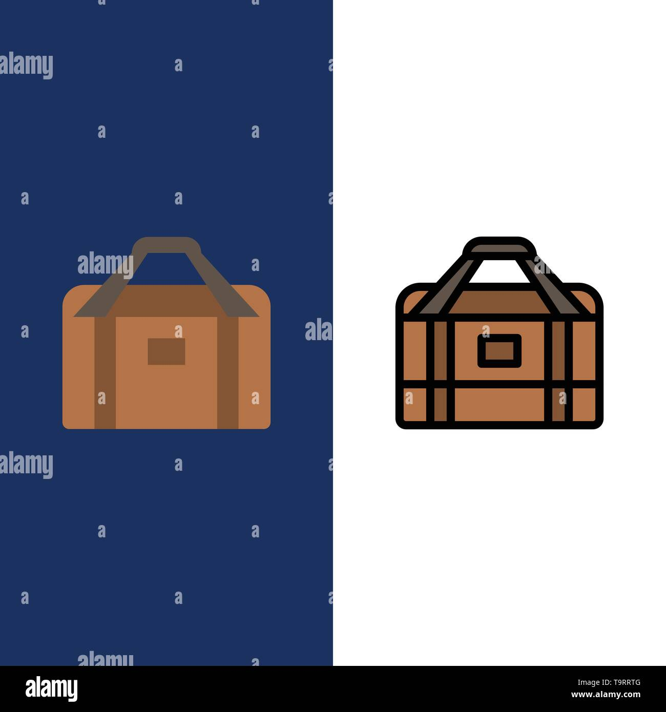 Bag, Equipment, Gym, Sports  Icons. Flat and Line Filled Icon Set Vector Blue Background - Stock Image