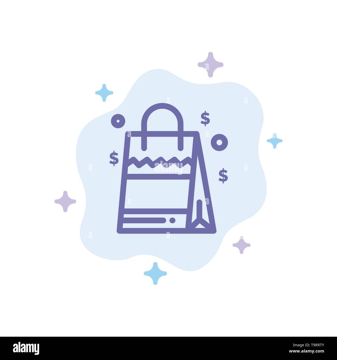 Bag, Handbag, Usa, American Blue Icon on Abstract Cloud Background - Stock Vector