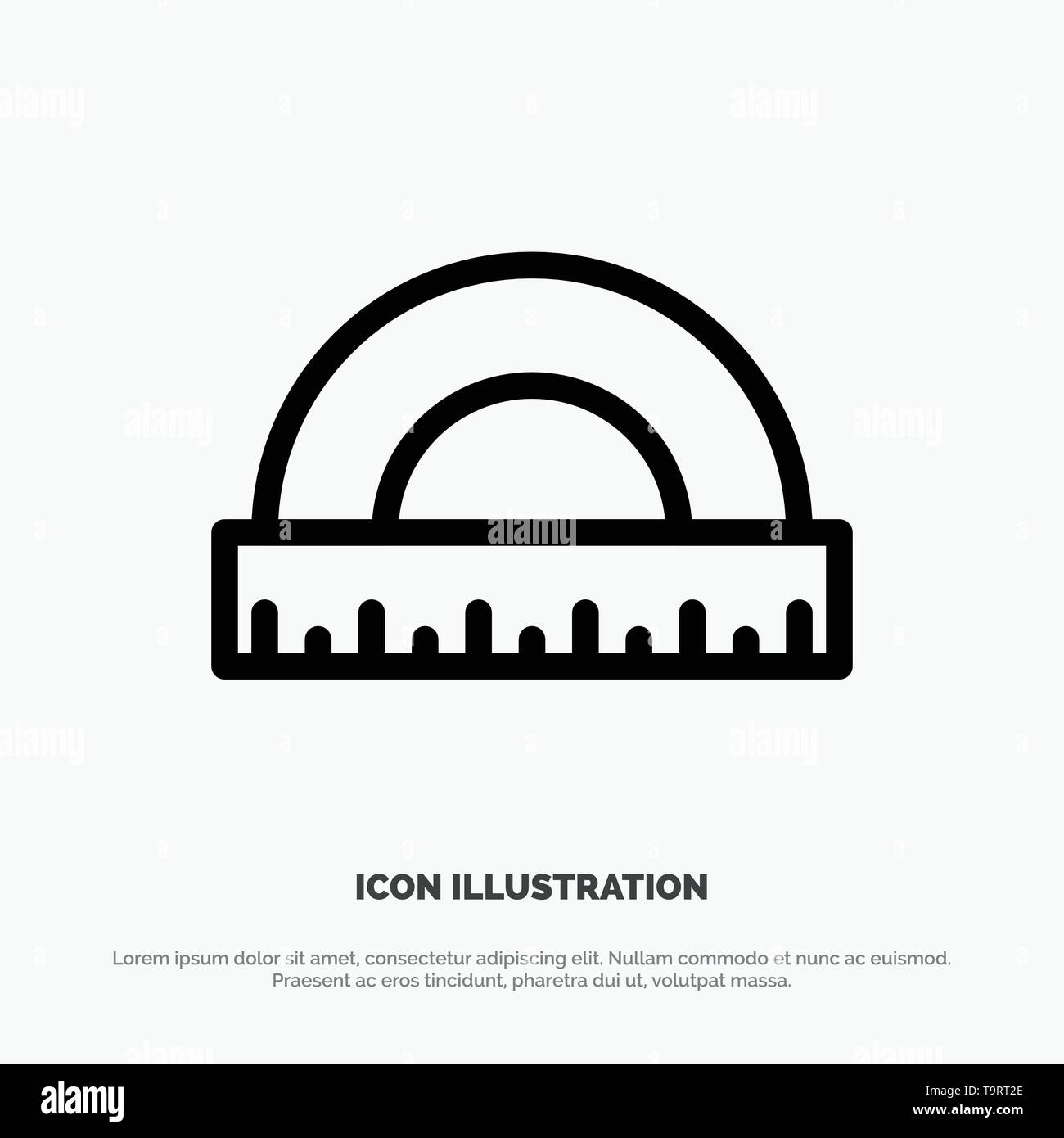 Angle, Construction, Measure, Ruler, Scale Line Icon Vector - Stock Image
