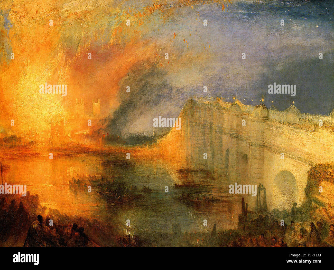 Joseph Mallord William Turner - burning houses parliament 1834 - Stock Image