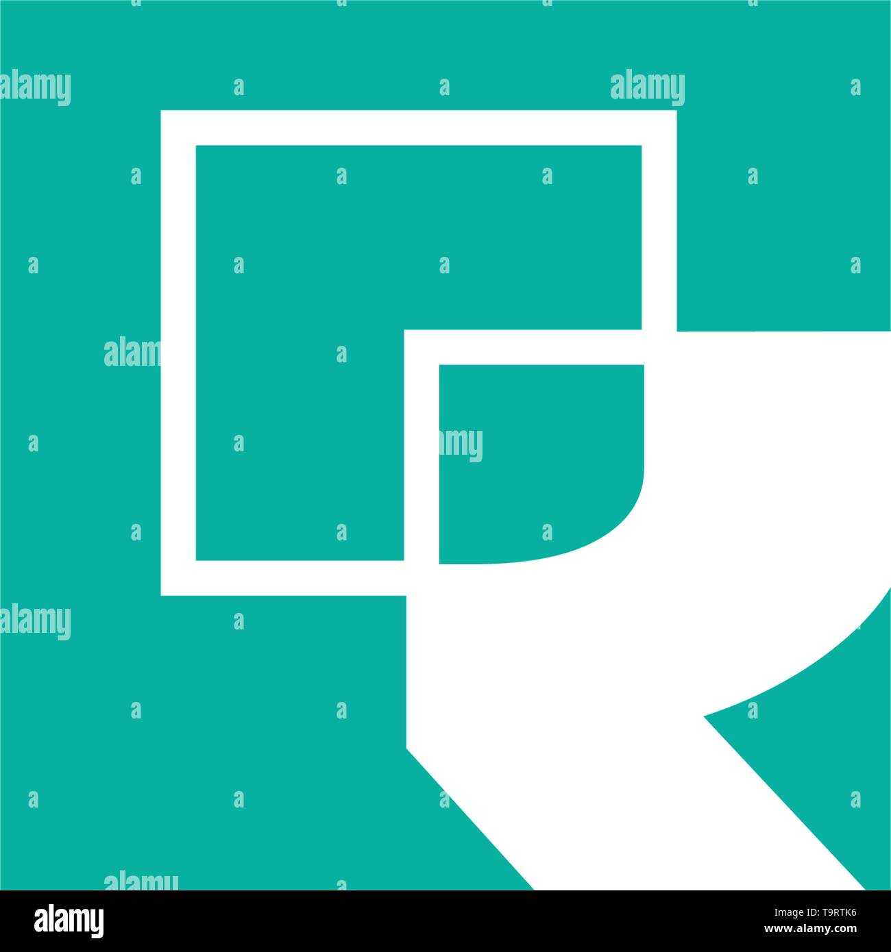 monogram initial R, R logo template black color vector