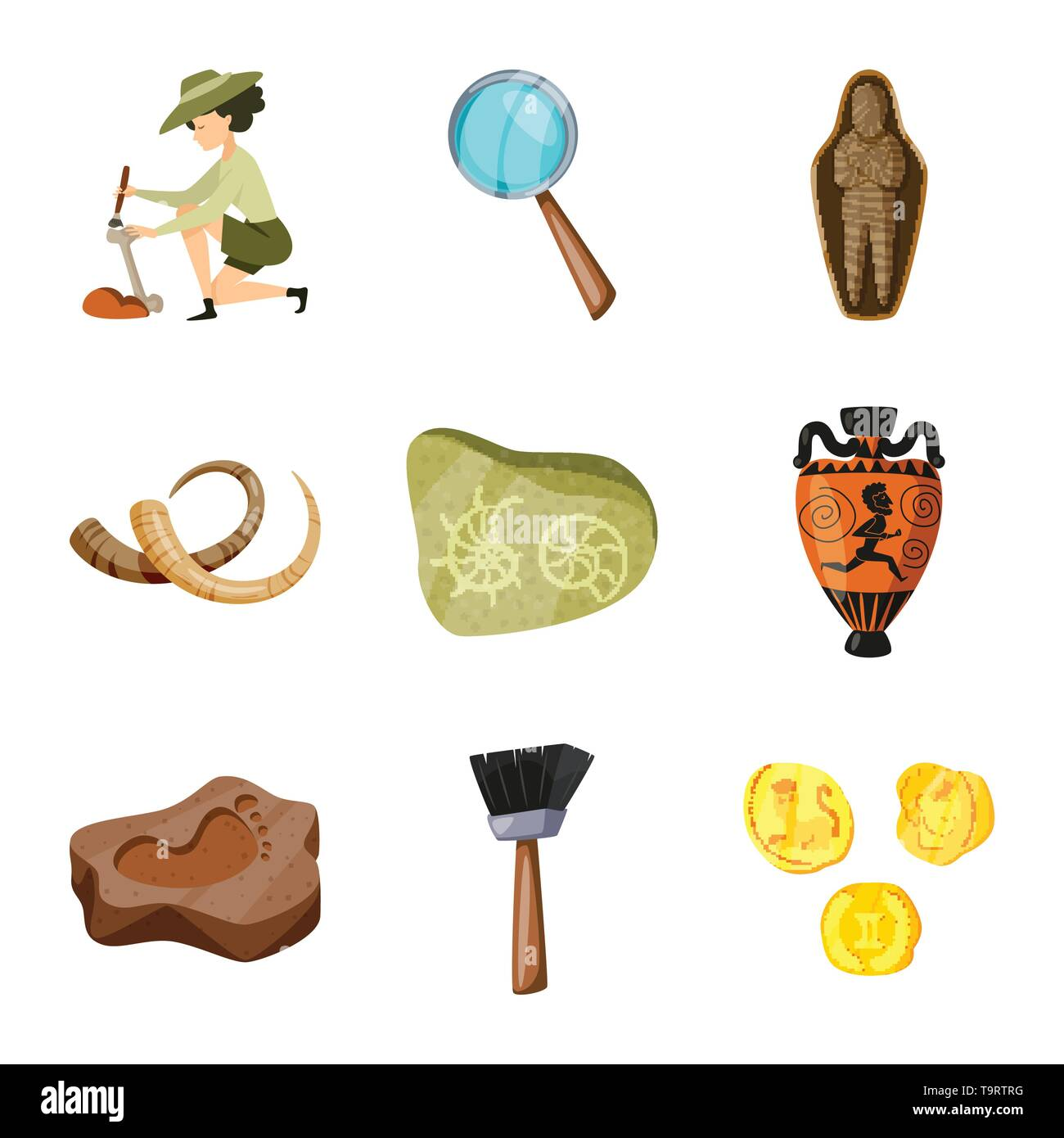 Vector design of archaeology  and historical logo. Set of archaeology  and excavation vector icon for stock. - Stock Image