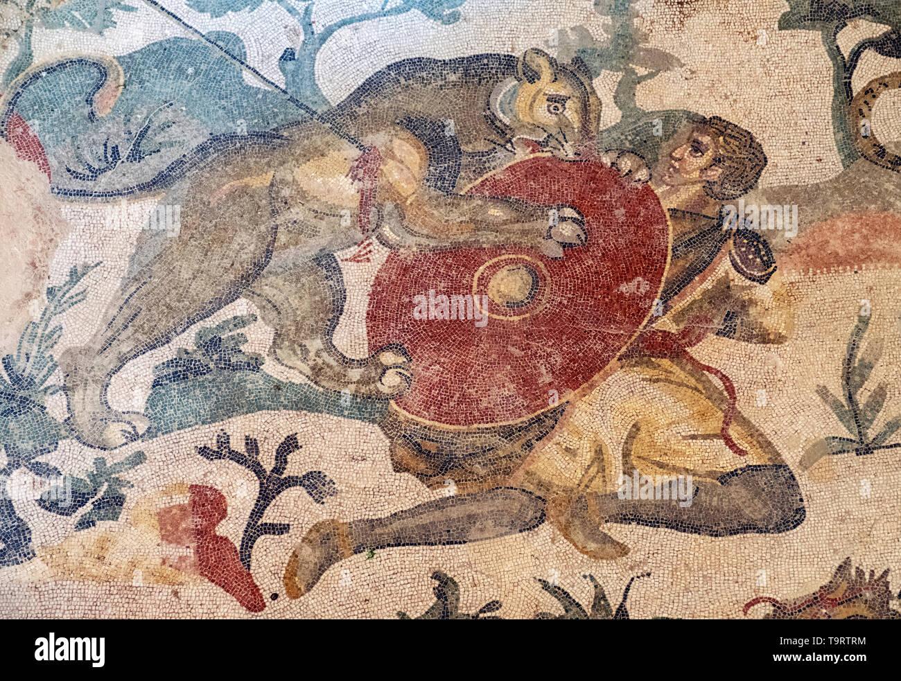 A lioness attacks a hunter on the Great Hunt Roman mosaic in the Villa Romana del Casale, Piazza Armerina, Sicily, Italy. - Stock Image