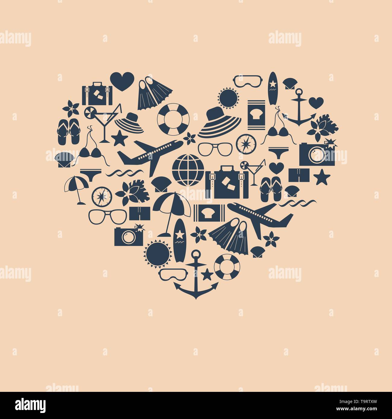 abstract heart symbol from summer flat icons isolated on the pastel background vector for design - Stock Vector