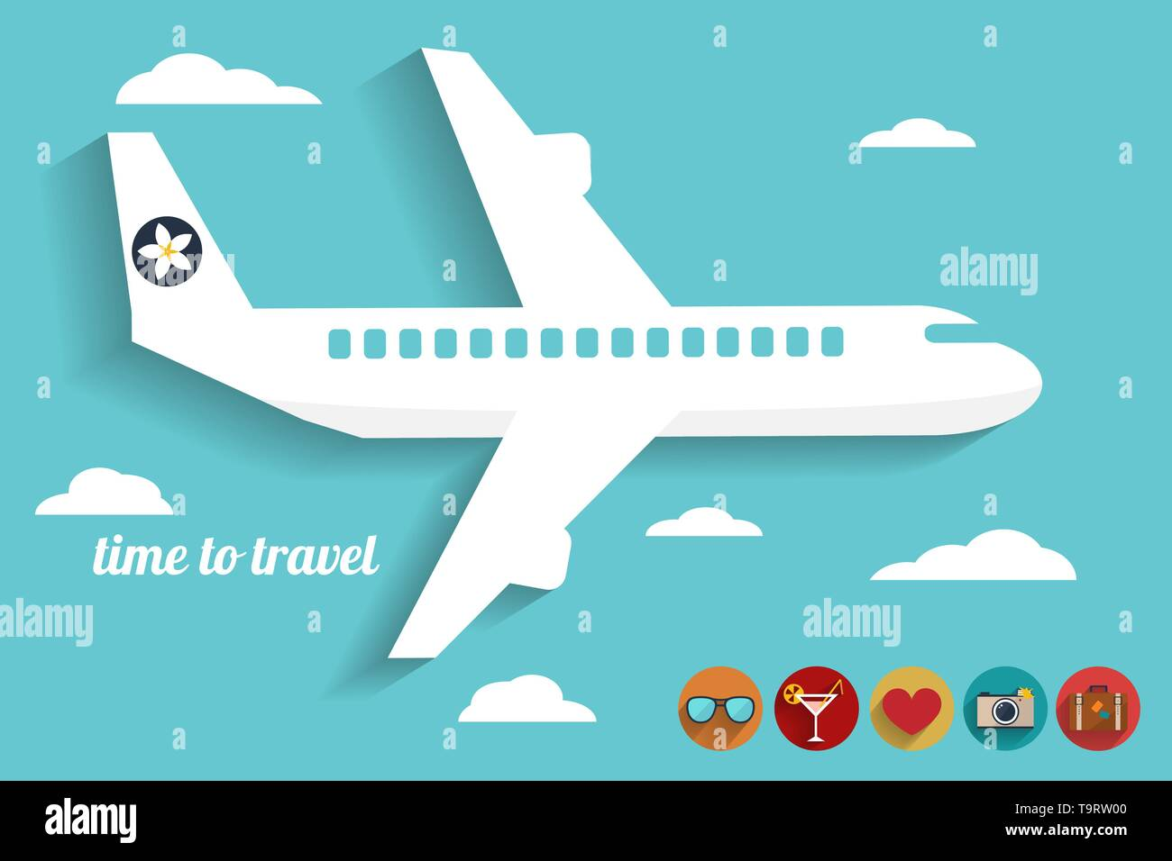 abstract illustration with airplane in the blue sky, travel icons and slogan 'time to travel' vector card template - Stock Vector