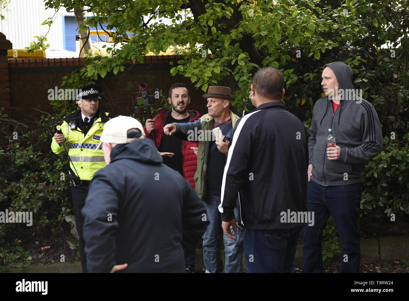 James Goddard hit the headlines in January 2019 after shouting abuse at MPs in Westminister. Here is in Liverpool filming anti-fascist protestors.  Police kept supporters and counter-demonstrators apart but clashed with counter-demonstrators ahead of Tommy Robinson's arrival. Credit David J Colbran - Stock Image