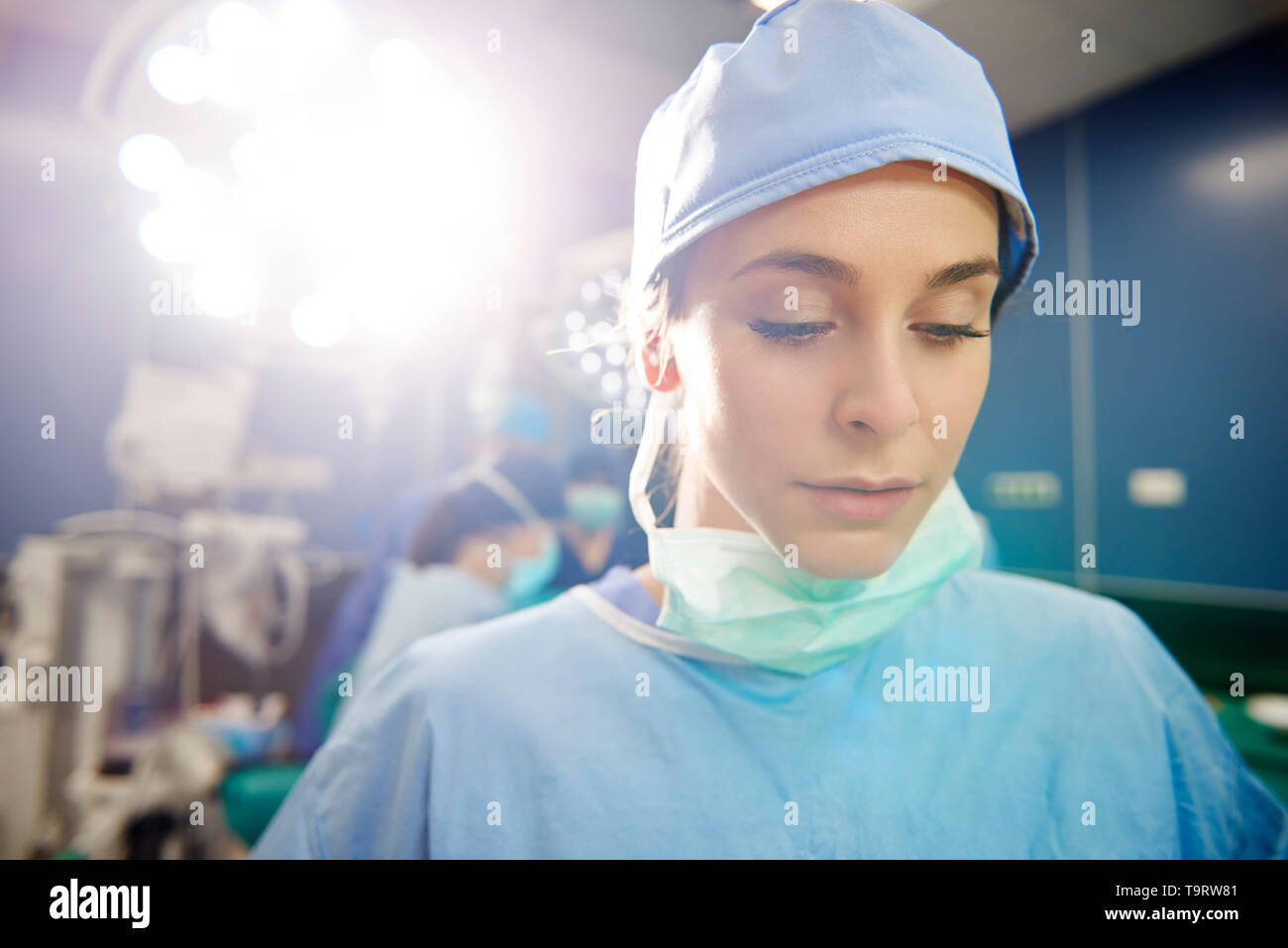 Worried and disappointment surgeon in operating room - Stock Image