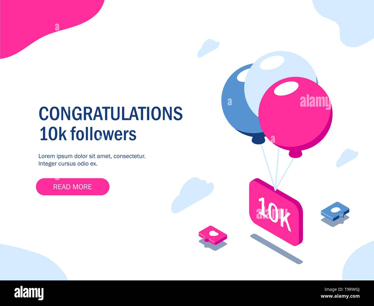 Congratulations 10k followers. Multi-colored balloons lift a sign with the inscription. Social media icons. Vector isometric 3d illustration with pink - Stock Image