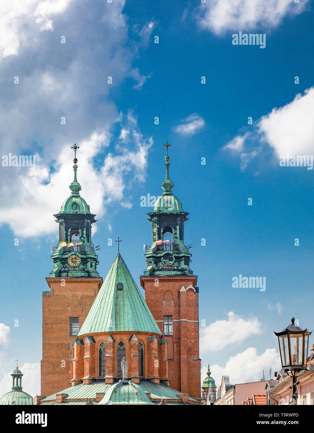 Gniezno / Poland -  Old town buildings, Cathedral and cityscape - architecture of the first capitol of Poland. - Stock Image