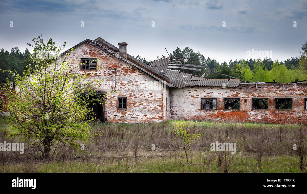 Collapsed factory in Belarus Chernobyl exclusion zone, - Stock Image