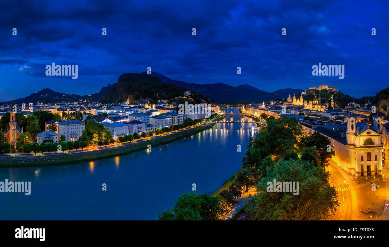 Salzburg, look at the Old Town and the fortress High salt castle at night, Austria, Europe, Blick auf die Altstadt und die Festung Hohensalzburg bei N - Stock Image