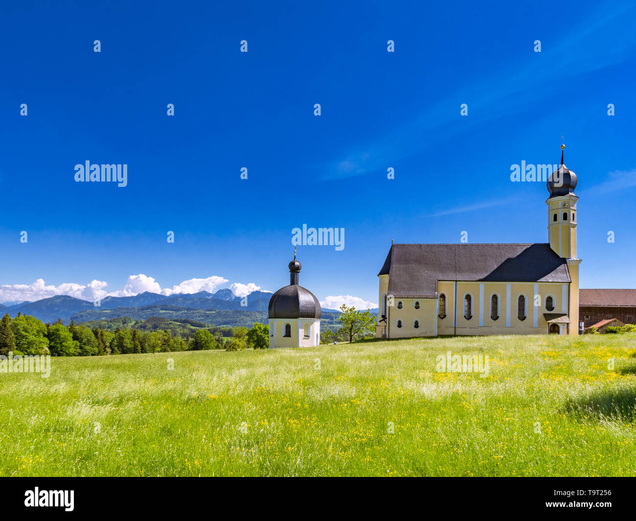 Pilgrimage church Saint Marinus and Anian in Wilparting, municipality Irschenberg, uplands, Upper Bavaria, Bavarians, Germany, Europe, Wallfahrtskirch - Stock Image