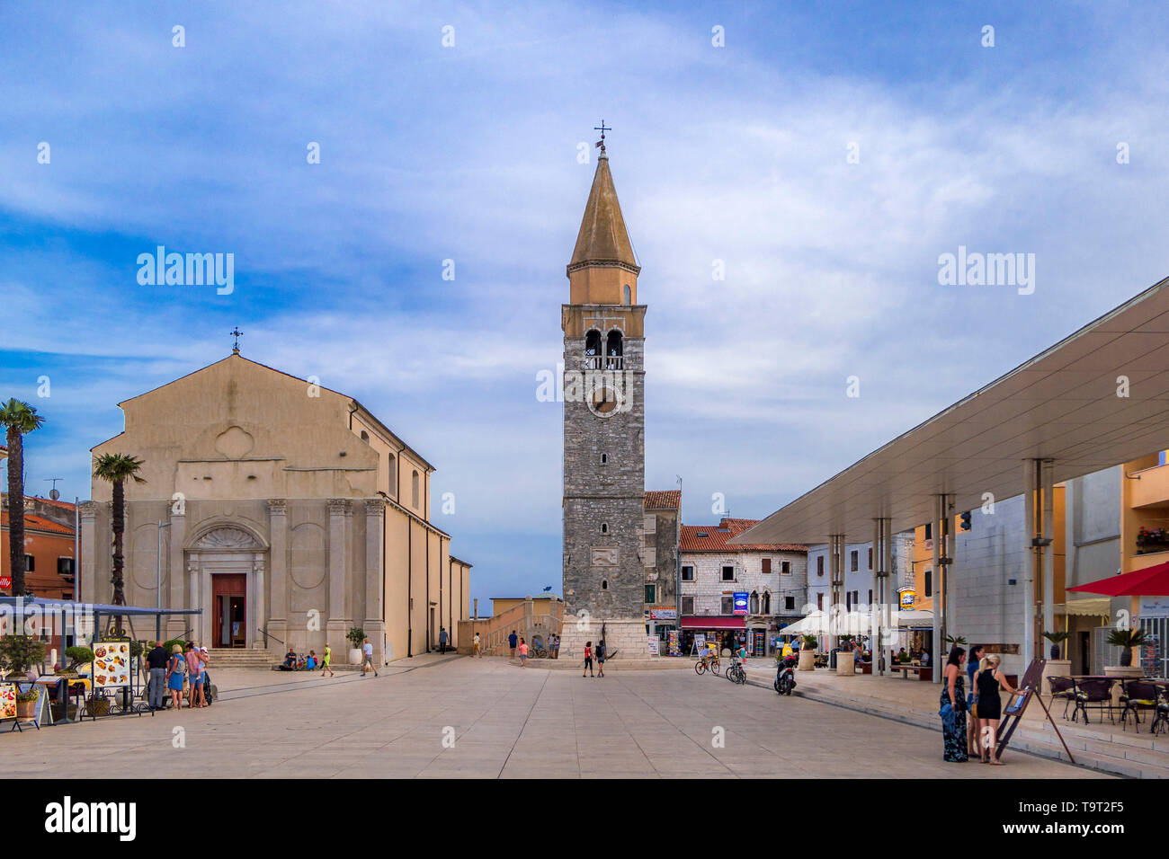 Parish church of Holy Maria in the Piazza Slobode Liberta, Umag, Istrien, Croatia, Europe, Pfarrkirche der Hl. Maria an der Piazza Slobode Liberta, Kr - Stock Image