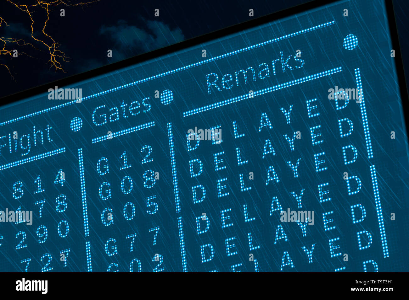 Delayed flights due to bad weather concept. Airport timetable under deep rain with lightnings and dark sky. Dotted pixel monitor display with informat - Stock Image